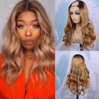 Royal Wave U-Part Wig 150% Density 27# Color Human Hair Wig