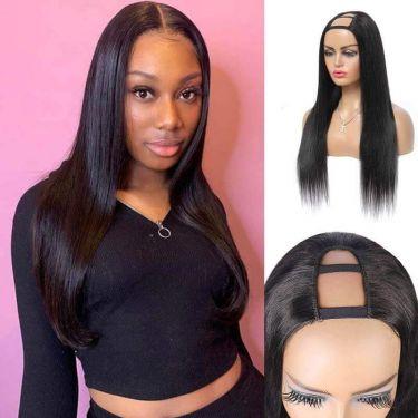 U-Part Wigs 150% Density Brazilian Straight Human Hair