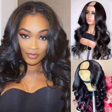 Wavy U-Part Wig 200% Density Brazilian Human Hair